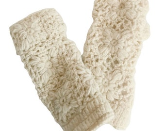 Off White Wool Knit Hand Warmers - Hand Warmers - Fingerless Gloves - Knitted Gloves
