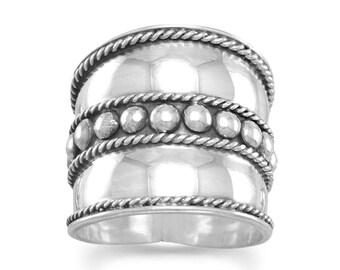 Flat Beaded Bali Ring - Sterling Silver Rings - Boho Rings - Band Rings - Bohemian Jewelry