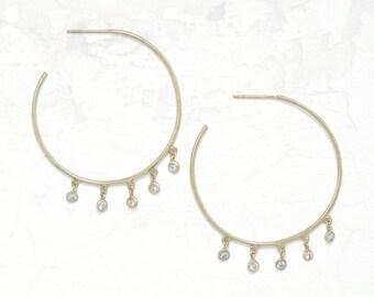 14 Karat CZ Hoops - Boho Earrings - Hoop Earrings - Bohemian Jewelry