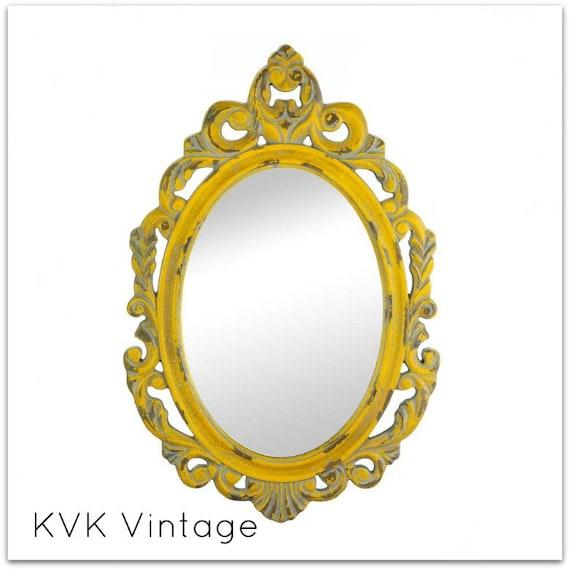 BOHO Chic Vintage Yellow Wall Mirror - Mirror - BOHO Chic Mirror - Shabby Chic