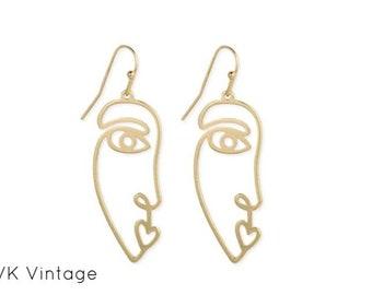 Modern Abstract Gold Face Earrings - Boho Earrings - Dangle Earrings - Picasso Earrings - Bohemian Jewelry