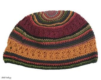 Striped Kufi Skull Cap - Crocheted Beanie Hat - Fair Trade