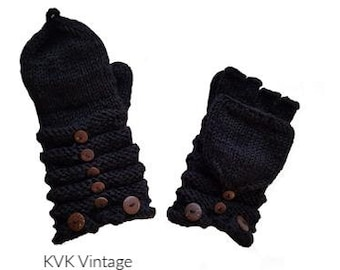 Black Wool Knit Mittens with Wood Buttons - Hand Warmers - Fingerless Gloves - Knitted Gloves