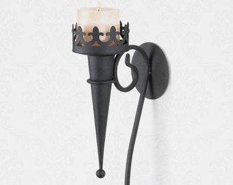 Gothic Candle Sconce - Wall Sconce - Victorian Gothic - Gothic Home Décor - Black Wall Sconce