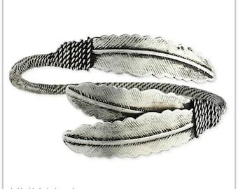 Silver Feather Cuff Bracelet - Boho Bracelet - Feather Jewelry - Bohemian Jewelry