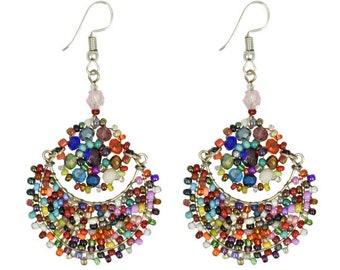 Moon Flower Earrings - Earrings - Boho Earrings - Dangle Earrings - Beaded Earrings - Bohemian Jewelry