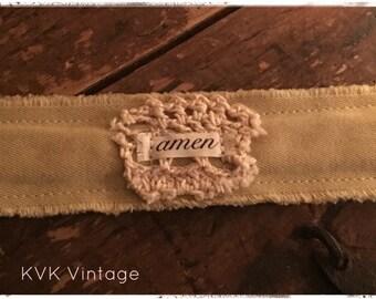 Boho Bracelet With Words Fabric (Amen) - Cuff Bracelet - Handmade Bracelet - Bohemian Jewelry