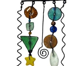 Metal & Glass Beaded Mobile - Mobiles - Hanging Mobile - Home Décor - Bohemian Mobile