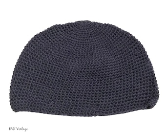 Navy Kufi Skull Cap - Crocheted Beanie Hat - Fair Trade