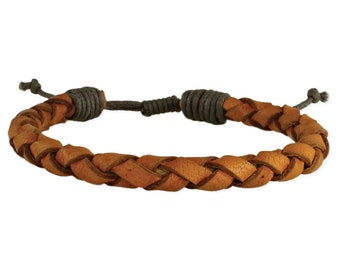 Leather Brown Braided Bracelet -  Boho Bracelet - Mens Bracelet - Mens Jewelry