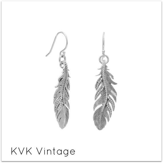Oxidized Feather Earrings