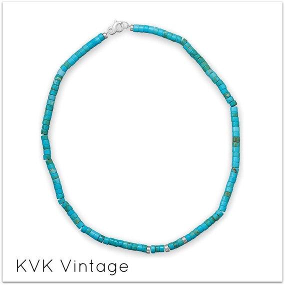 BOHO Reconstituted Turquoise Heshi Bead Necklace - BOHO Necklace - Bohemian Necklace - Hippie Necklace