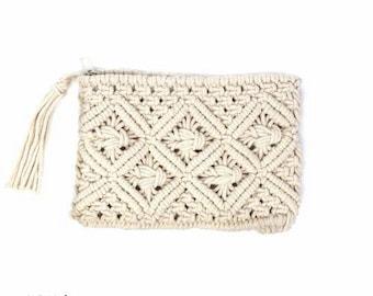 Macramé Clutch with Tassel - Boho Bag - Womens Bag - Handmade Bag