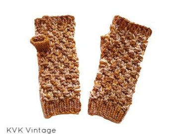 Fall Foliage Wool Knit Hand Warmers - Hand Warmers - Fingerless Gloves - Knitted Gloves
