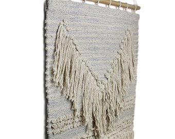 Handwoven Boho Wall Hanging Blue/Grey with Fringe - Wall Décor - Macramé Wall Art - Wall Tapestry