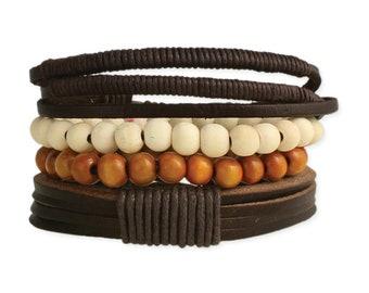 Rustic Leather & Wood Bracelet Set  -  Boho Bracelet - Mens Bracelet - Mens Jewelry