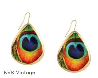 Peacock Feather Print Tear Drop Earrings - Boho Earrings - Dangle Earrings - Feather Earrings - Bohemian Jewelry