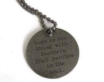 Inspirational Disc Necklace - Pendant Necklace - Inspirational Quote - Minimalist Necklace - Silver Necklace