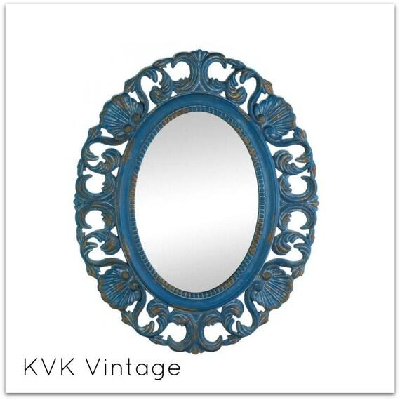 BOHO Chic Vintage Blue Mirror -  Mirror - Shabby Chic Mirror