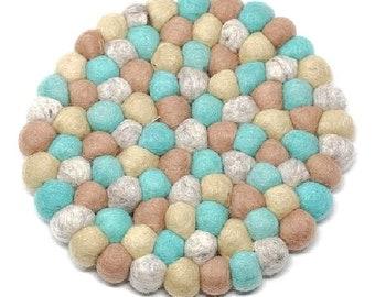 Sky Blue Felt Ball Trivet - Wool Trivets - Fair Trade - Trivets - Kitchen & Dining