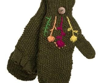 Green Wool Knit Mitten Glove - Hand Warmers - Fingerless Gloves - Knitted Gloves