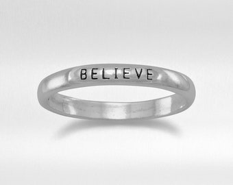 """Sterling Silver """"BELIEVE"""" Band Ring - 2.5 mm Rings - Inspiring Ring - Silver Ring - Minimalist Ring"""