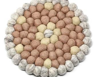 Rose Flower Felt Ball Trivet - Wool Trivets - Fair Trade - Trivets - Kitchen & Dining
