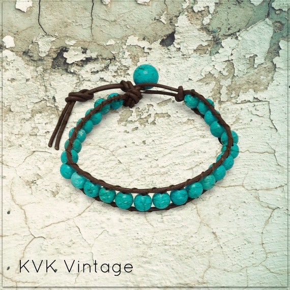 Leather and Magnesite Bracelet