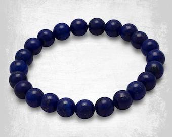 Lapis Lazuli Gemstone Bracelet - Beaded Bracelet - Stretch Bracelet - Gemstone Jewelry