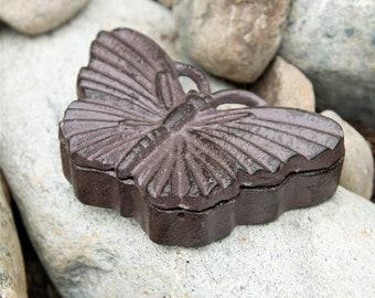 Cast Iron Butterfly Key Holder - Garden Decoration - Butterfly Key Hider - Animal Key Holder - Home Décor