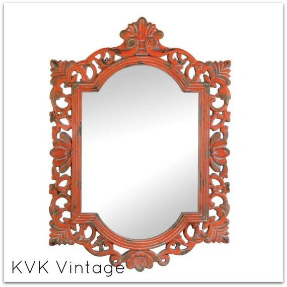 BOHO Chic Vintage Coral Wall Mirror - Mirror - Shabby Chic Mirror - BOHO Chic