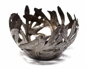 Haitian Metal Drum Bird Bowl - Metal Bowl - Decorative Bowl - Fair Trade