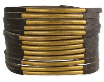 Brown Leather & Gold Bar Wide Cuff Bracelet - Boho Bracelet - Leather Bracelet - Bohemian Jewelry