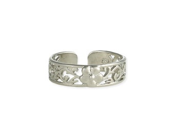 Silver Flower Toe Ring - Toe Rings - Adjustable Toe Ring - Silver Toe Ring - Toe Rings for Women