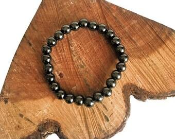 Hematite Bead Stretch Bracelet - Beaded Bracelet - Hematite Jewelry - Gemstone Jewelry
