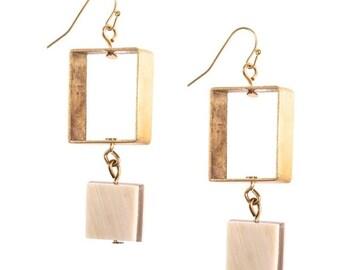 Horn Brass Square Earrings (Light) - Boho Earrings - Real Horn Earrings - Statement Earrings - Bohemian Jewelry