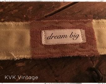 Boho Bracelet With Words Fabric (Dream Big) - Cuff Bracelet - Handmade Bracelet - Bohemian Jewelry