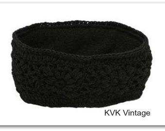Black Wool Hand Knit Headband - Knitted Headband - Headbands for Women - Wool Headband - Wide Headband