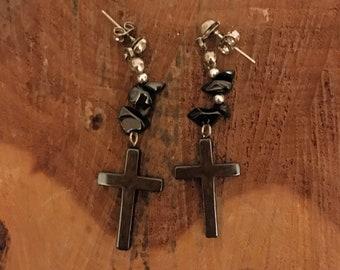 Hematite Traditional Cross Earrings - Hematite Earrings - Hematite Jewelry