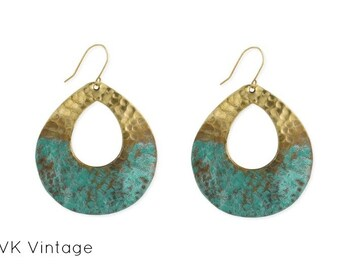 Boho Tear Drop Gold & Patina Earrings - Boho Earrings - Dangle Earrings - Ethnic Earrings - Bohemian Jewelry