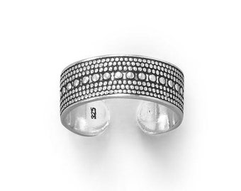 Beaded Design Sterling Silver Toe Ring - Toe Rings - Adjustable Toe Ring - Silver Toe Ring - Toe Rings for Women