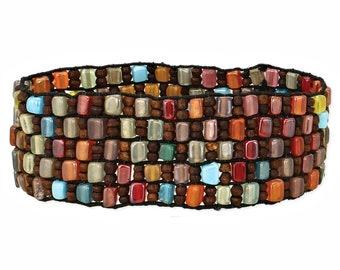 Glass & Wood Autumn Mosaic Multi Bead Stretch Bracelet - Boho Bracelet - Cuff Bracelet - Bohemian Jewelry