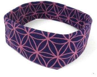 Purple Flower Wide Headband - Boho Headband - Bohemian Headband - Headbands for Women - Yoga Headband