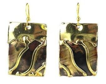 Brass Wave Earrings - Boho Earrings - Statement Earrings - Tribal Earrings - Bohemian Jewelry