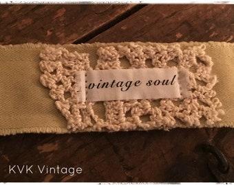 Boho Bracelet With Words Fabric (Vintage Soul) - Cuff Bracelet - Handmade Bracelet - Bohemian Jewelry