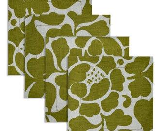 Frangipani Silk Screen Fabric Coasters (Set of 4) - Drink Coasters -  Fair Trade - Cotton Coasters - Kitchen & Dining