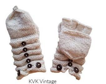 White Wool Knit Mittens with Wood Buttons - Hand Warmers - Fingerless Gloves - Knitted Gloves