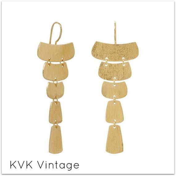 14 Karat Gold Plated Textured Cascading Plate Earrings - BOHO Earrings - Bohemian Earrings - Hippie Earrings