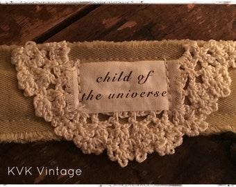 Boho Bracelet With Words Fabric (Child of the Universe) - Cuff Bracelet - Handmade Bracelet - Bohemian Jewelry