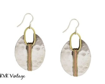 Mixed Metal Hammered Silver Oval Earrings - Boho Earrings - Dangle Earrings - Ethnic Earrings - Bohemian Jewelry